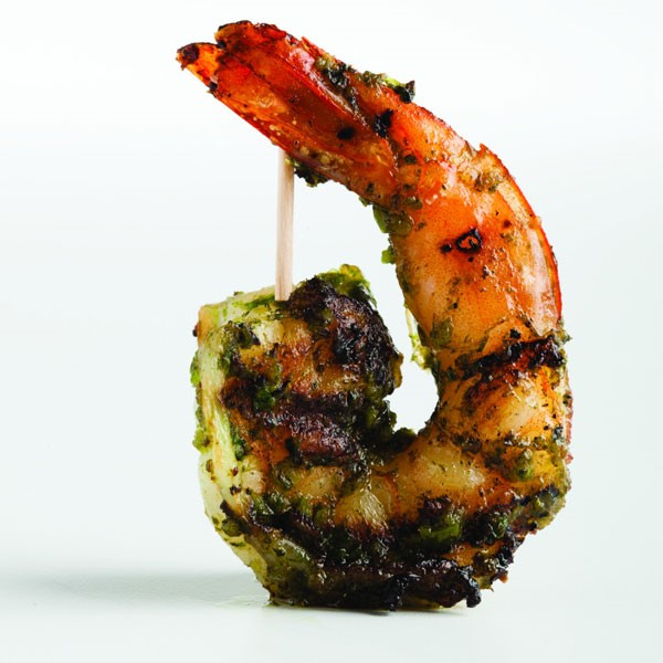 Pesto Covered Shrimp on a Skewer