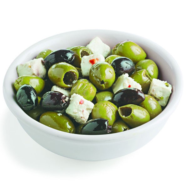 Green and Black Olives with Cheese Cubes