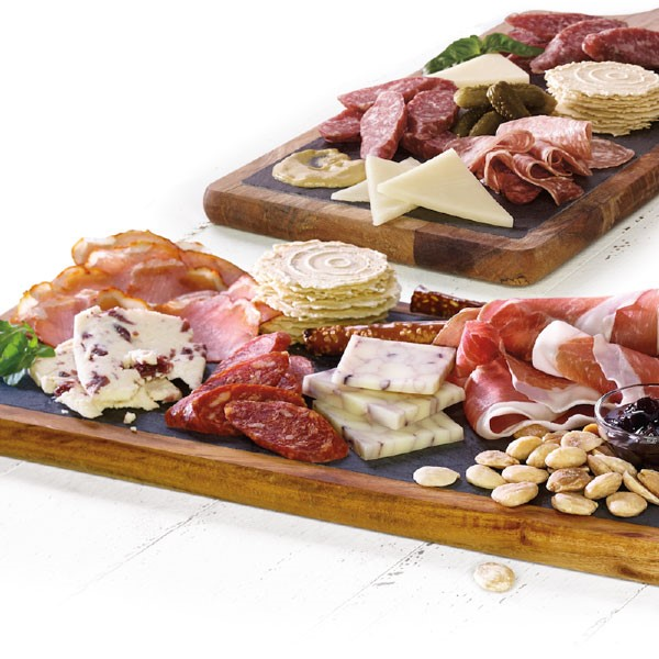 Charcuterie Board with Crackers, Nuts, Cheeses, Jams, and Meats