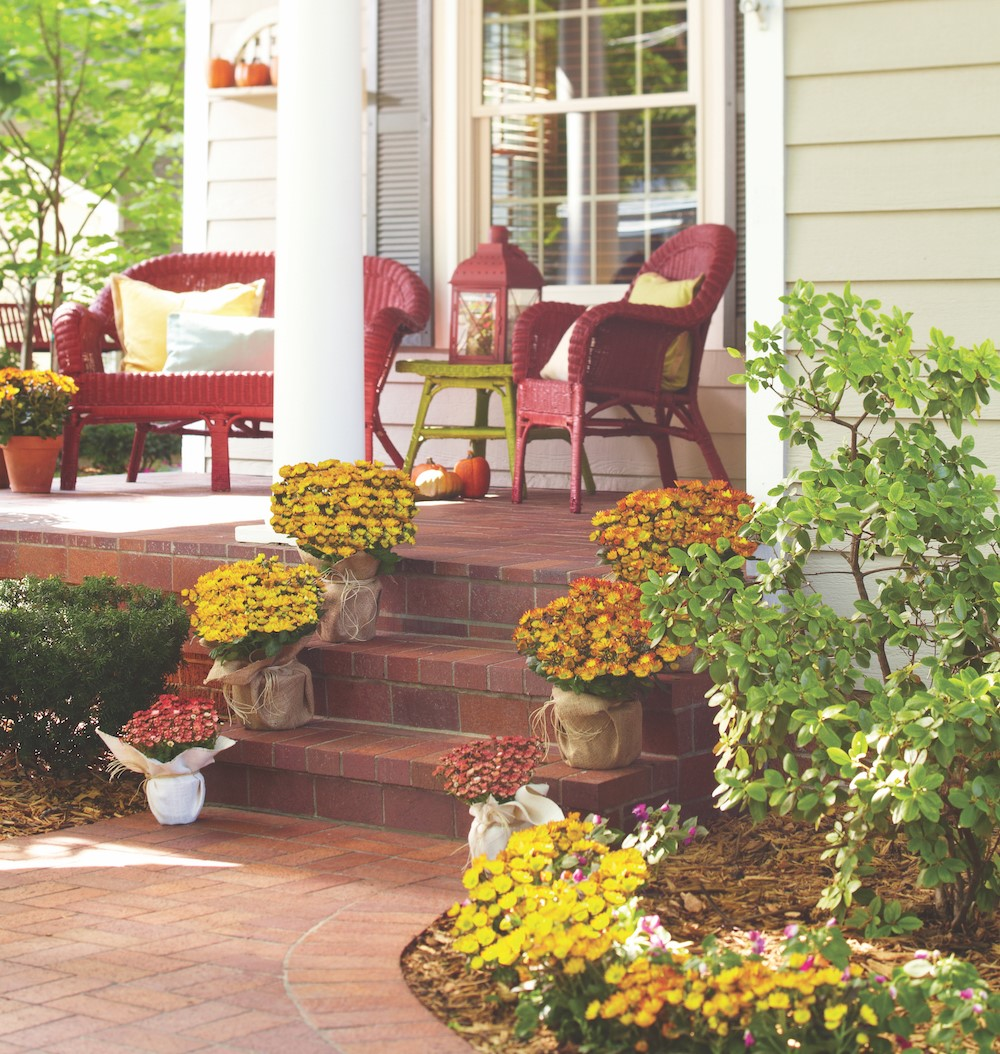 Porch lined with red, orange, and yellow mums
