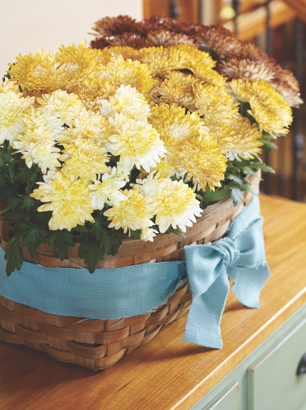 Yellow and burgundy mums in a woven basket with blue bow