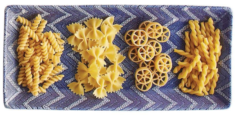 platter of different pasta shapes