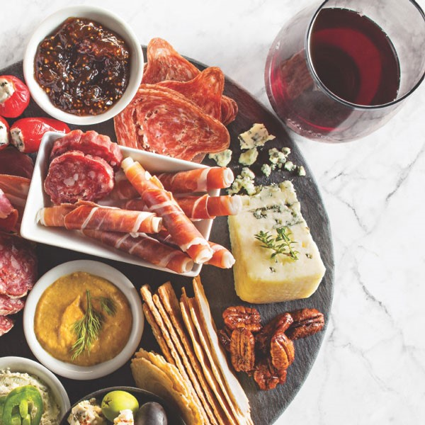 Charcuterie Plate with Red Wine