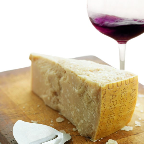 Parmesan Cheese and Red Wine Glass