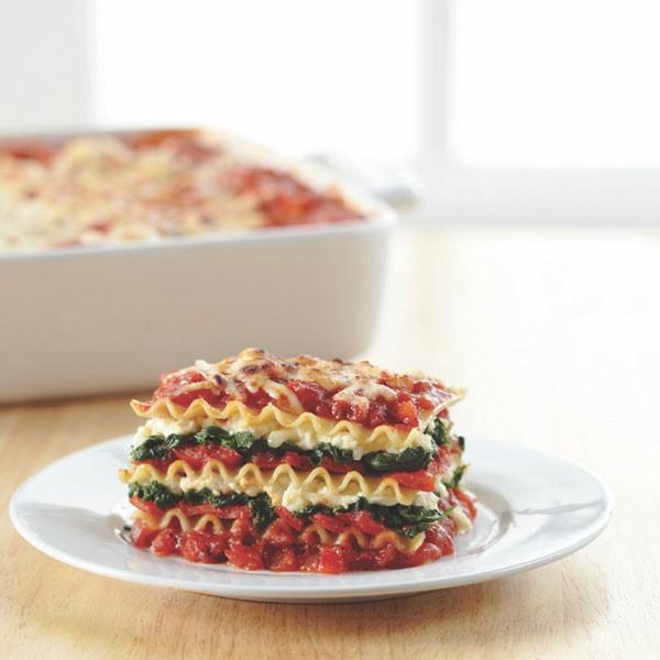 Spinach Red Pepper Lasagna Slice
