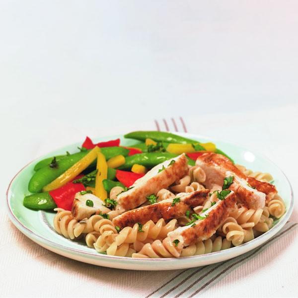 Chicken Basilico Rotini on Plate with Veggies