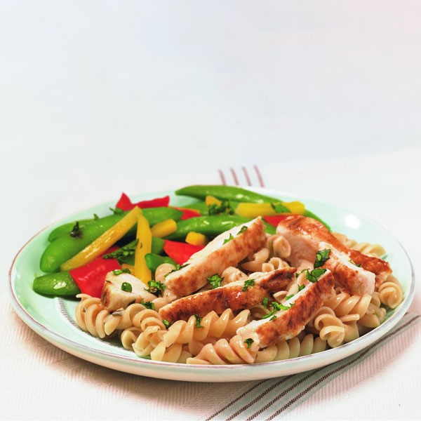 Chicken Basilico Rotini on Plate with Veggies