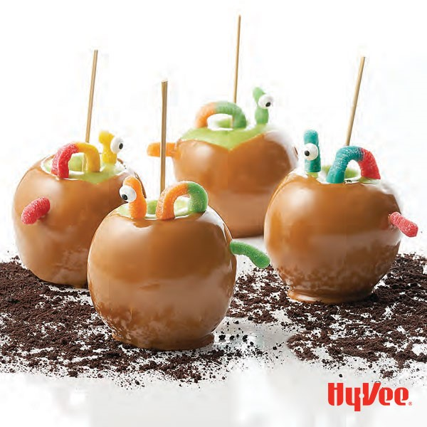 Caramel apples with Trolli gummy worm candies