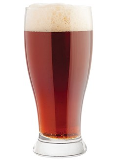 Octoberfest dark beer in glass with foam