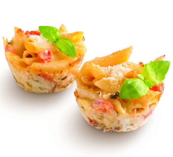 Mini appetizers made with penne pasta and Parmesan