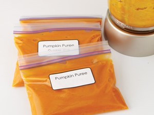 Pumpkin puree in resealable plastic bags with label