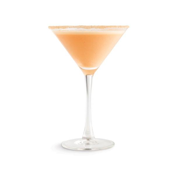 Martini glass filled with pumpkin spice martini