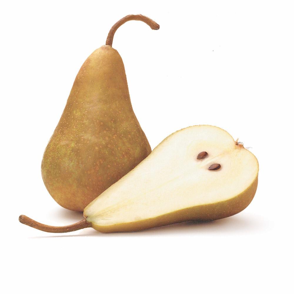 bosc pear cut in half lenghwise
