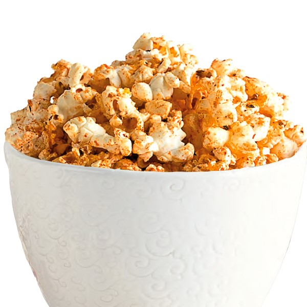 Cup of popcorn mixed with cajun seasoning
