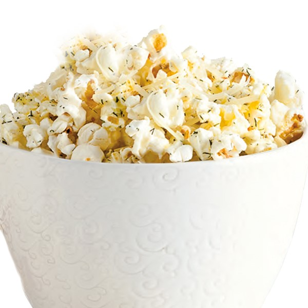 Bowl of popcorn seasoned in dill and Parmesan cheese