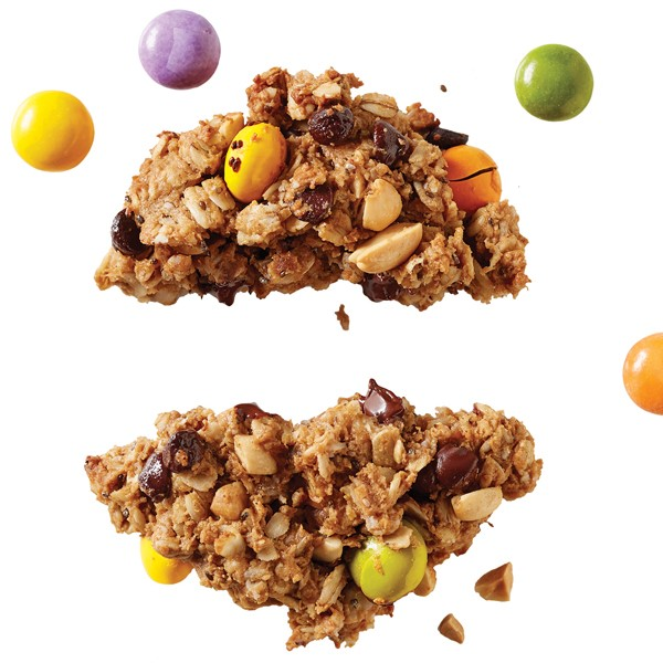 Pulled apart cookie filled with peanuts, oatmeal, M&M's, peanut butter and chocolate chips