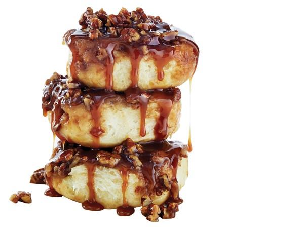 Stacked cinnamon pecan rolls