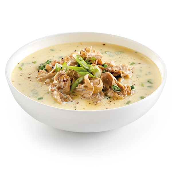 White bowl of creamy oyster stew
