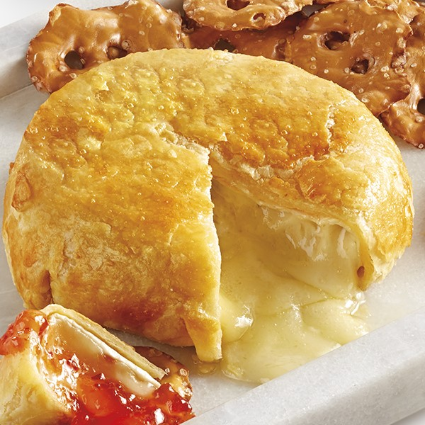 Baked brie covered in a puff pastry